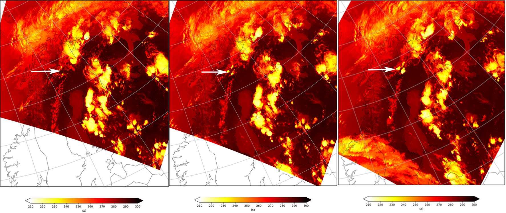 AVHRR Brightness Temperature from Metop-A at 16:35 UTC (left), Metop-C at 17:16 (middle) and Metop-B at 17:49 UTC (right)