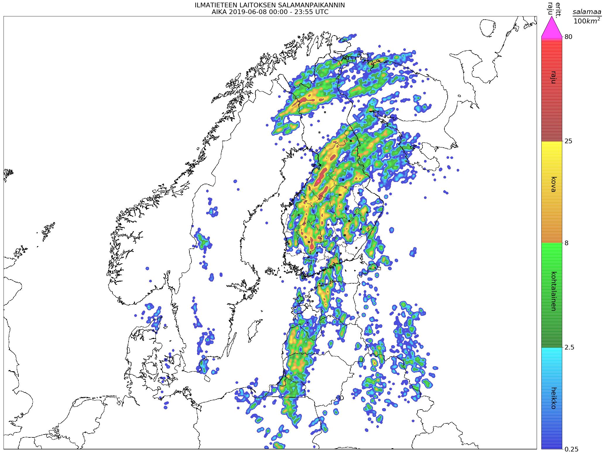 Lightning map (located ground flashes), 8 June 00:00–23:55 UTC (heikko = weak, kohtalainen = moderate, kova = strong, raju = severe). Credit: FMI