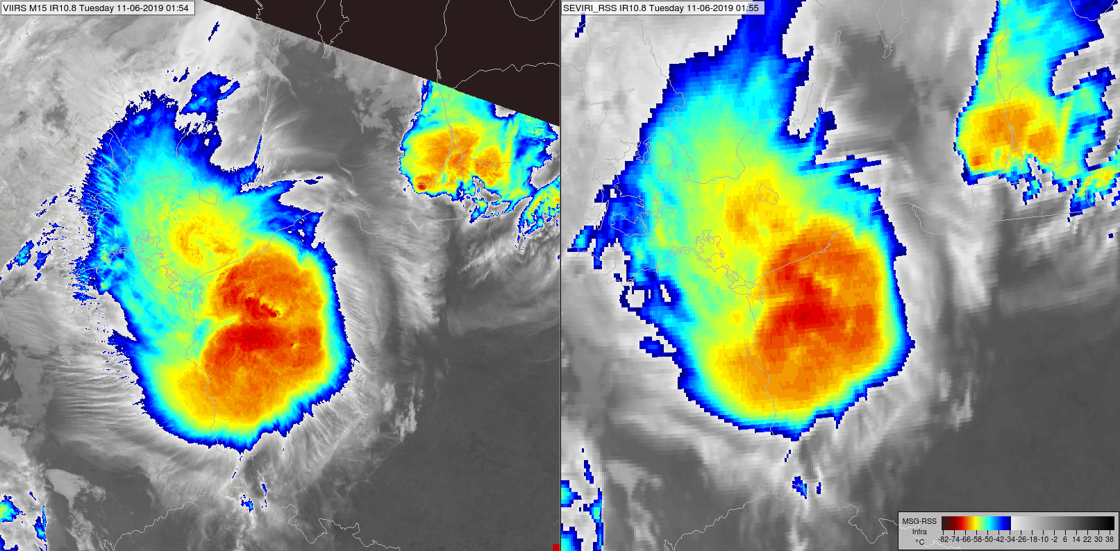 Comparison of IR10.8 images of NOAA-20 VIIRS (left) and Meteosat-11 SEVIRI (right), 11 June at 01:54 and 1:55 UTC