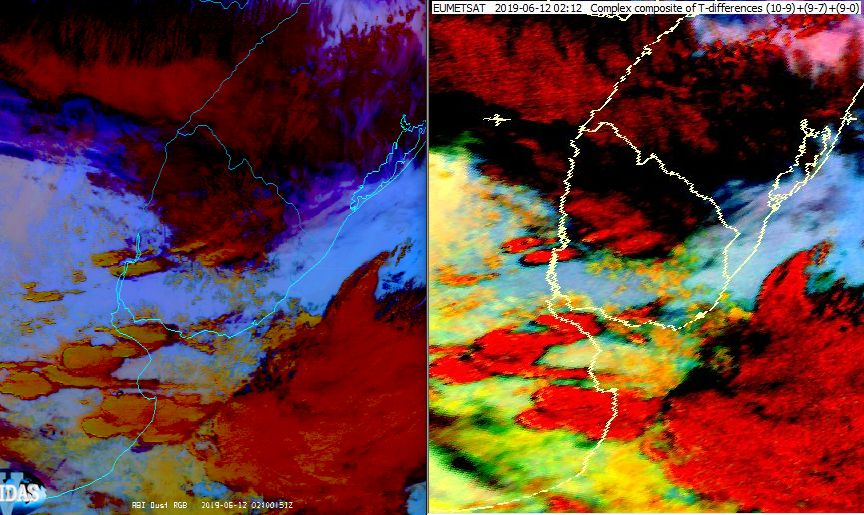 GOES-11 (left) and Meteosat-11 (right) depiction of the Dust RGB on 12 June 02:00 UTC. Colours are enhanced and GOES uses four rather than three channels for the RGB composition.