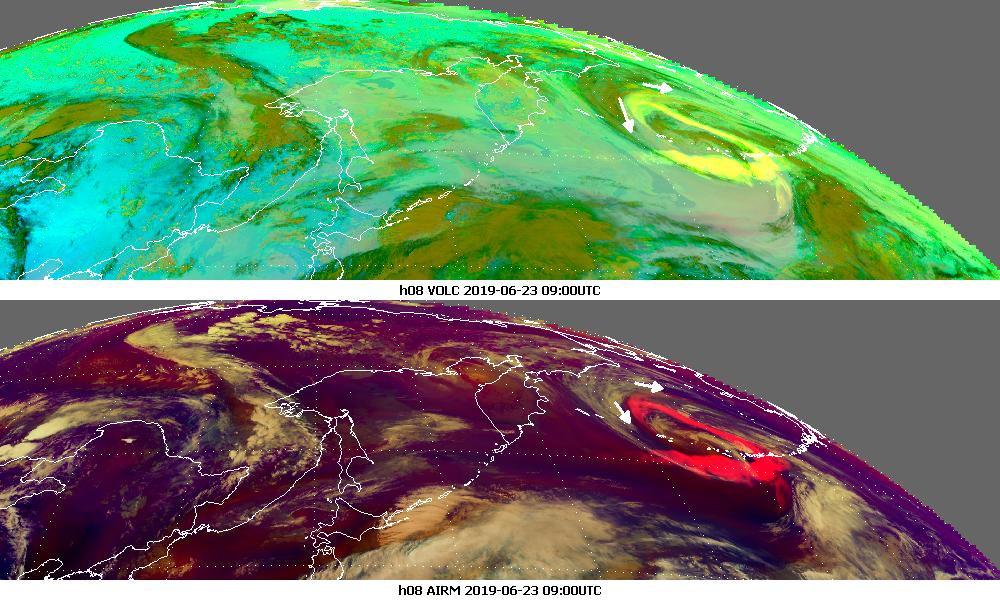 Himawari-8 Volcanic Ash and Airmass RGBs, 23 June 09:00 UTC