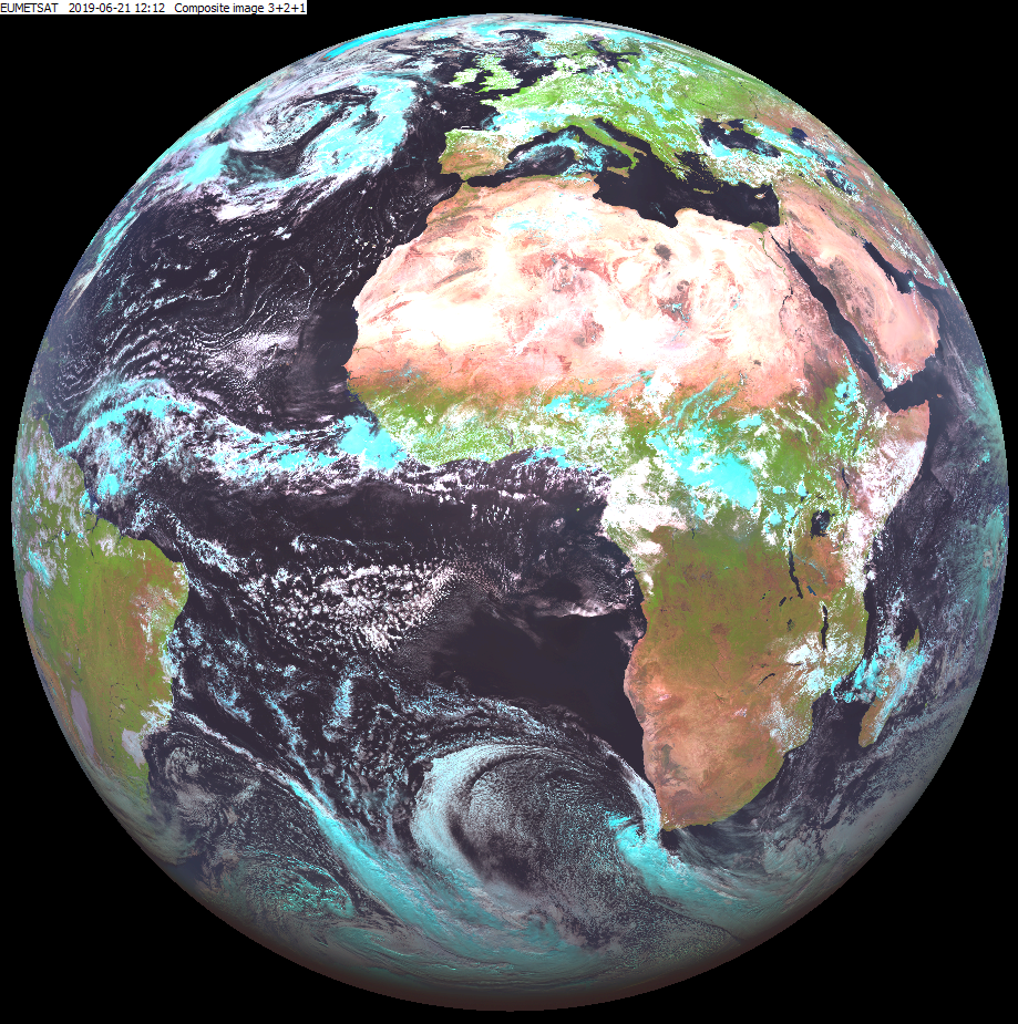 Meteosat-10 Natural Colour RGB, 21 June 12:12 UTC