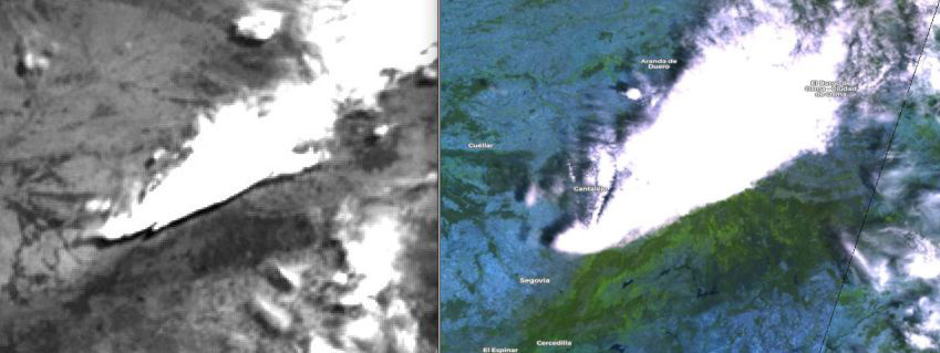 Meteosat-11 (left hand side) and Sentinel-3 (right) views on the same cloud system over central Spain, 27 June 11:00 UTC. Meteosat shows dark pixels south, Sentinel OLCI instrument north-west of the cloud.