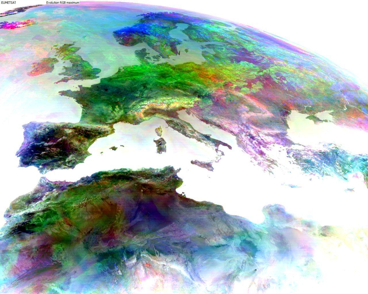 Brightness Temperature Evolution RGB, 24 June-28 July, daily at 13:45 UTC