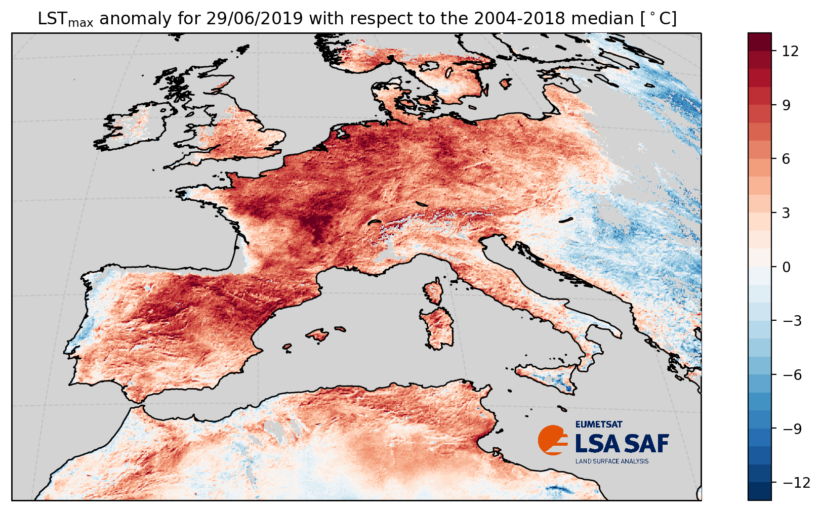 Daily maximum land surface temperature (LST) anomaly, 29 June