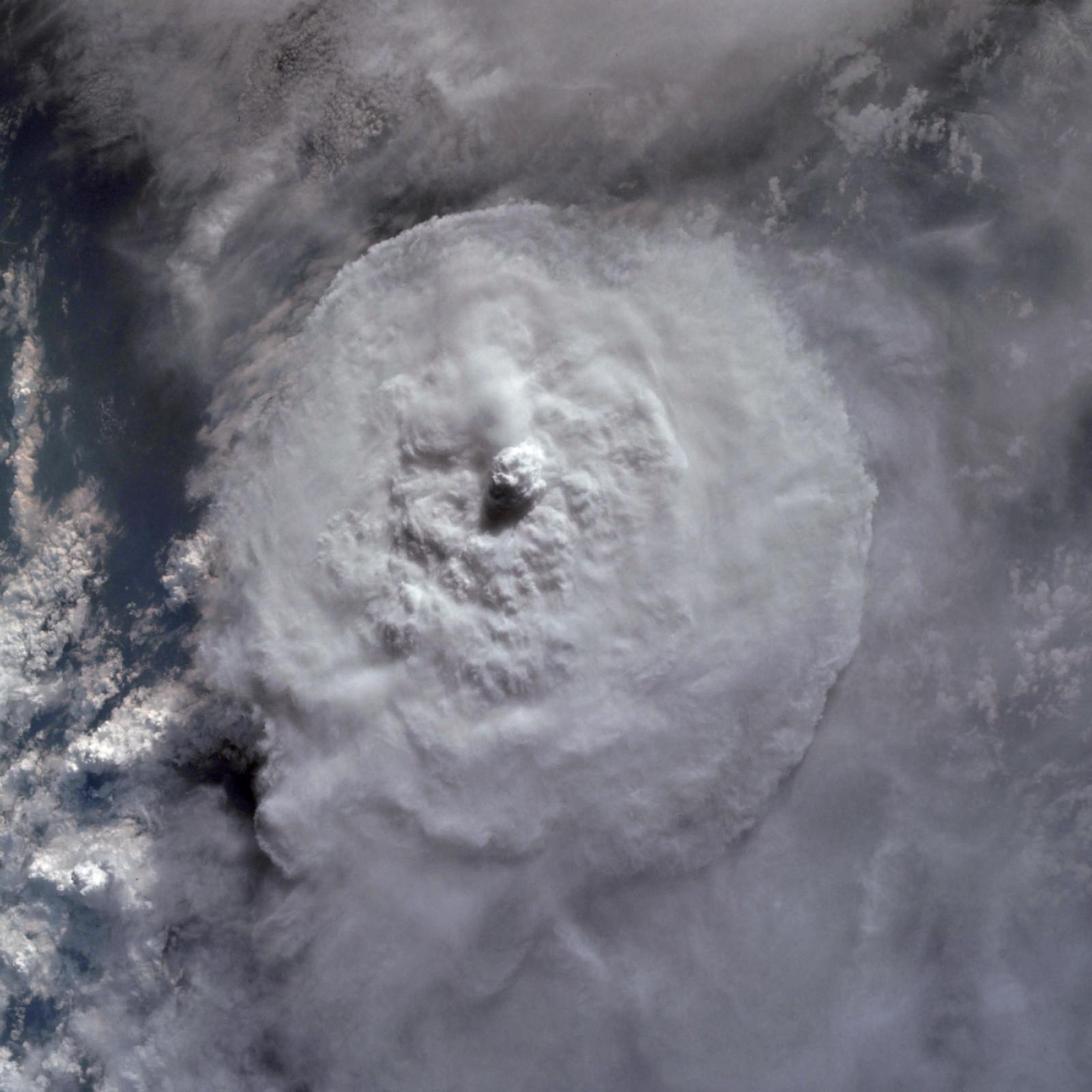 Circular convective storm with a large overshooting top. Credit: NASA