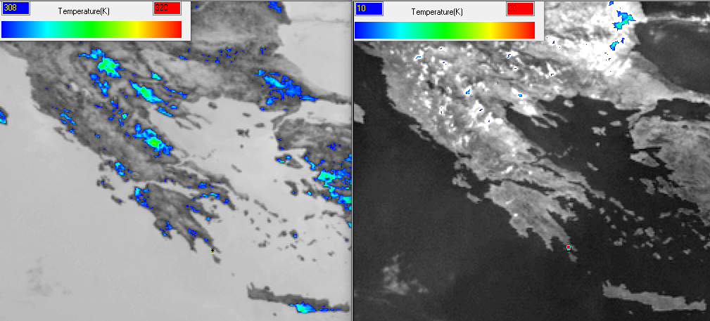 Meteosat-11 channel 3.9µm 10:45 UTC (left) enhanced and compared with the difference 3.9 µm–10.8 µm (right), which identifies burning pixels more efficiently.
