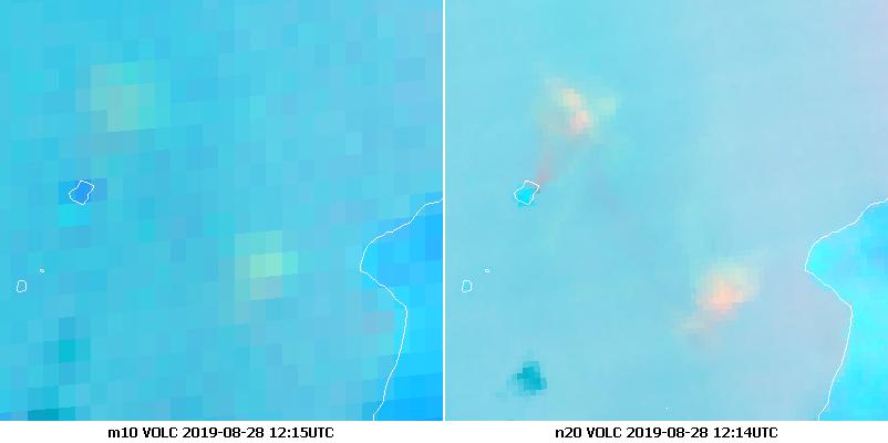 Meteosat-10 Volcanic Ash RGB(left) and NOAA-20 Volcanic Ash RGB (right) at 12:14 UTC