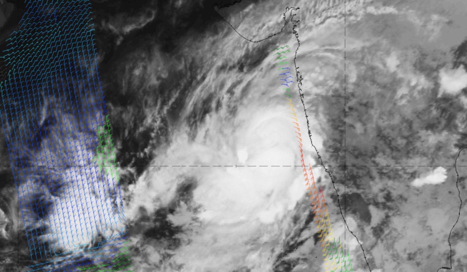 Meteosat-8 IR10.8 with Metop-A ASCAT winds overlaid, 24 Oct 18:00 UTC