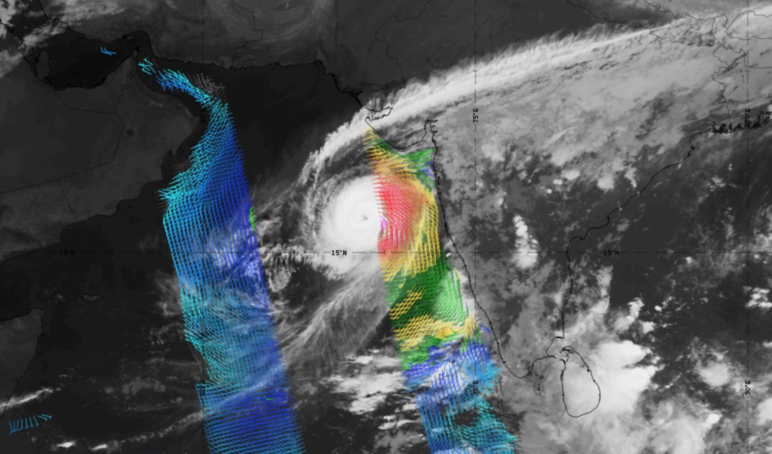 Meteosat-8 IR10.8 with Metop-A ASCAT winds overlaid, 27 Oct 18:00 UTC