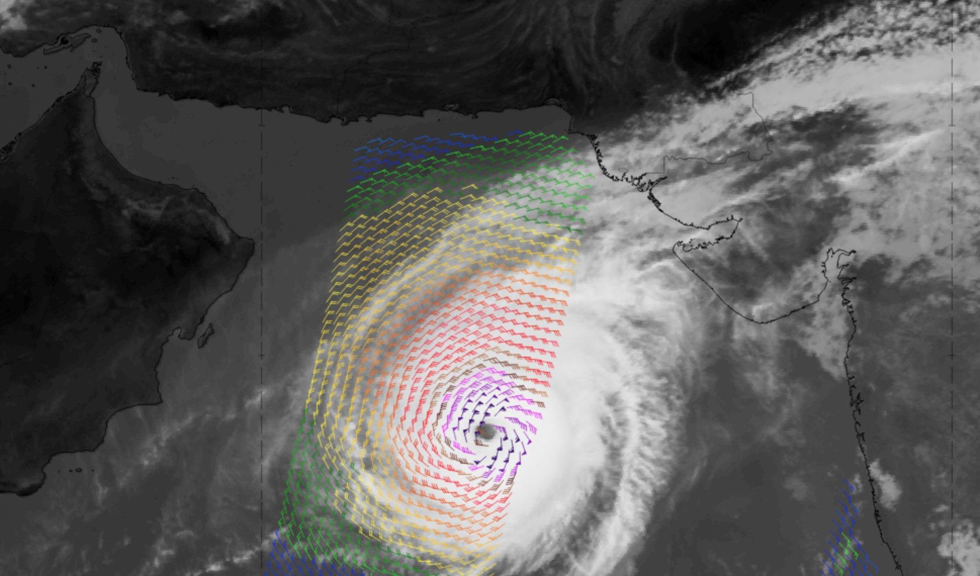 Meteosat-8 IR10.8 image with Metop-A ASCAT winds overlaid, 28 Oct 06:00 UTC