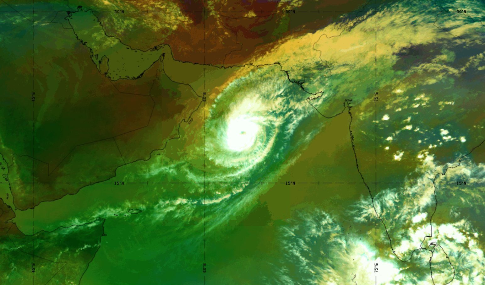 Metosat-8 Airmass RGB, 29 Oct 09:00 UTC, shows the dry air intrusion in red, NW region of the system
