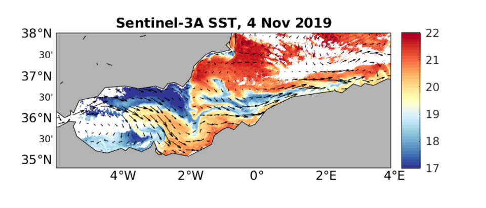 Sentinel-3A Sea Surface Temperature (in degrees celsius) 4 November. Currents from CMEMS (Mediterranean sea physics analysis and forecast) overlaid. The connection between the Algerian current and the Alboran gyre can be seen in the temperature signature (and the currents that have been overlaid).