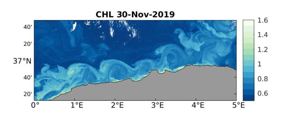 Sentinel-3A OLCI Chlorophyll-a concentration (log10 mg m-3), 30 November.