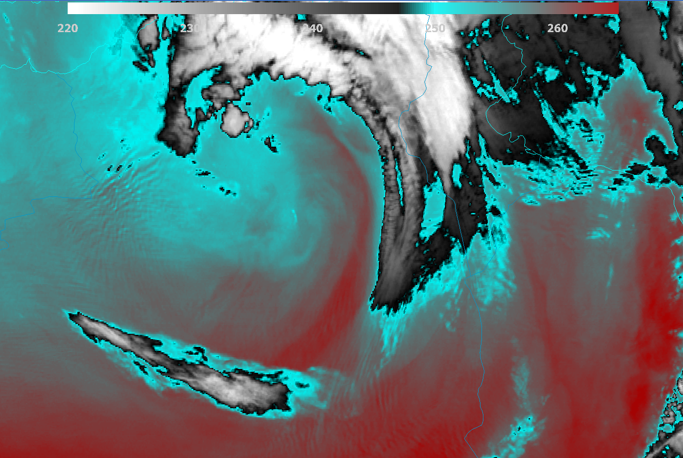 Meteosat-11 Water Vapour 7.3µm channel, 18 December 00:00 UTC.