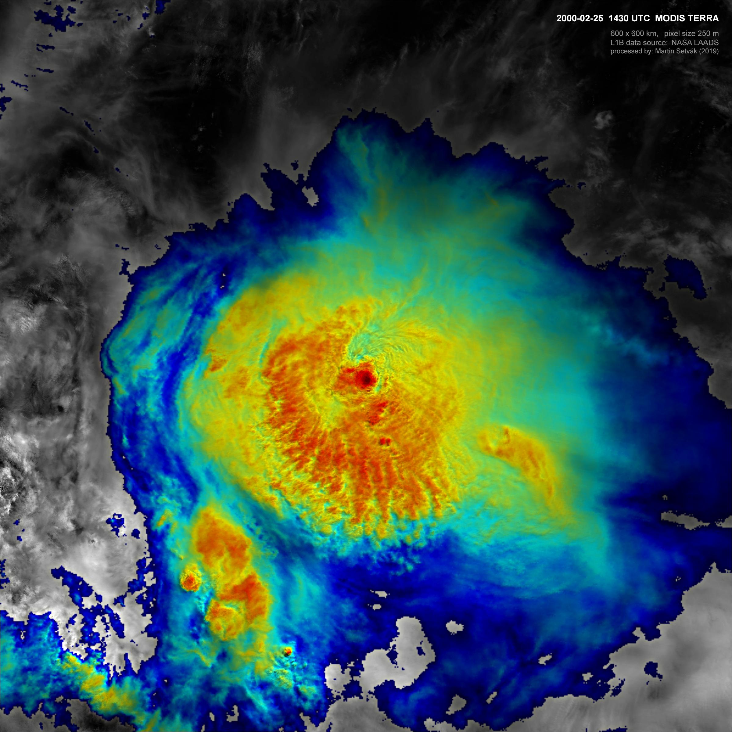 MODIS Sandwich Product, 25 Feb 2000, 14:30 UTC, Argentina