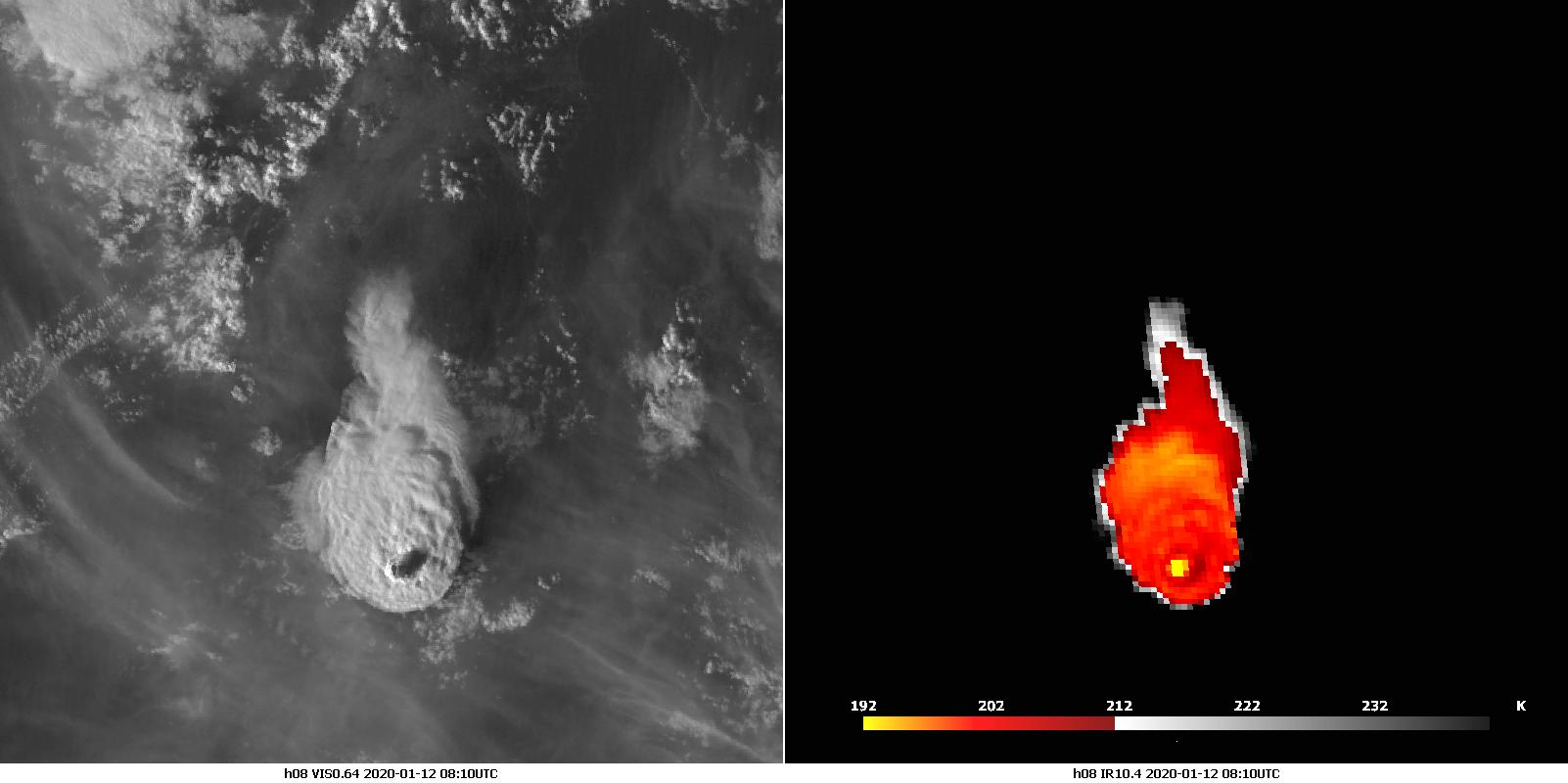 Himawari-8 VIS0.64 (left) and IR10.4 (right), 12 Jan 08:00 UTC