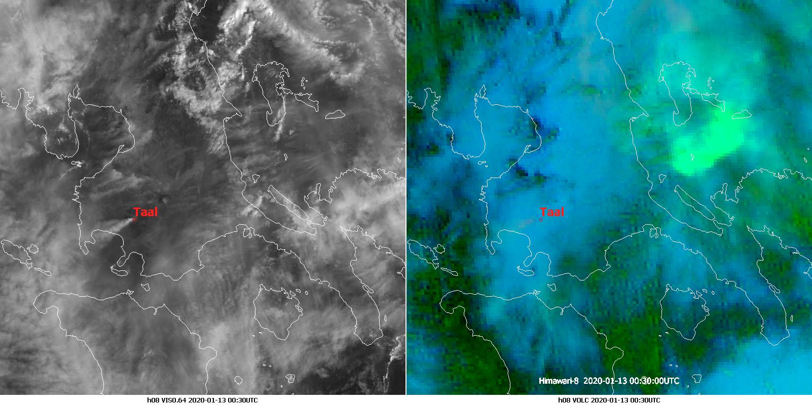 Himawari-8 VIS0.64 (left) and Volcanic Ash RGB (right), 13 Jan 00:30 UTC