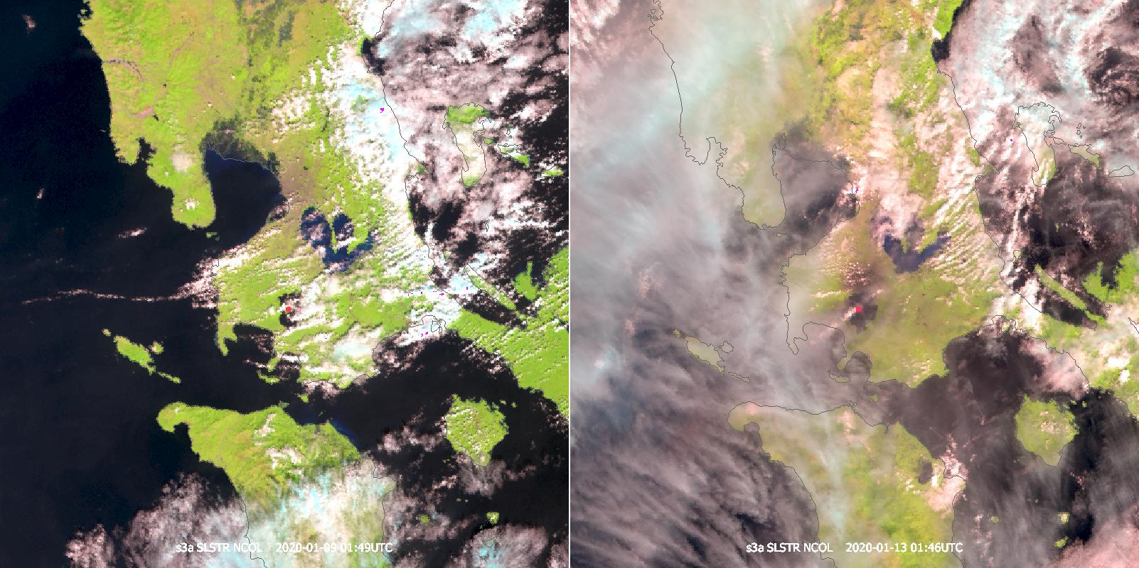 Sentinel-3B SLSTR Natural Colour RGB, 9 Jan 01:49 UTC (left) and 13 Jan 01:46 UTC (right)