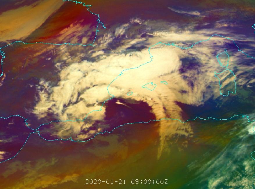 Met-11 Airmass RGB, 21 January 09:00 UTC