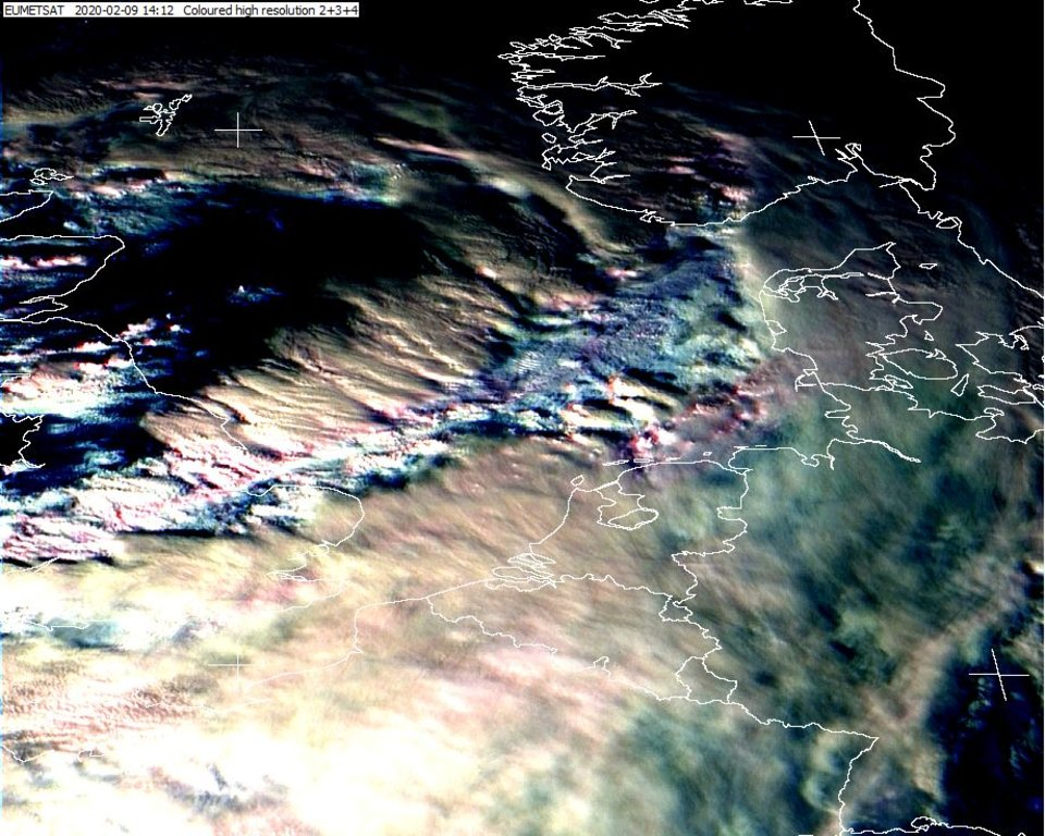 The centre of Ciara's circulation between Scotland and Norway, on Meteosat-11 HRV, 9 February, 14:00 UTC