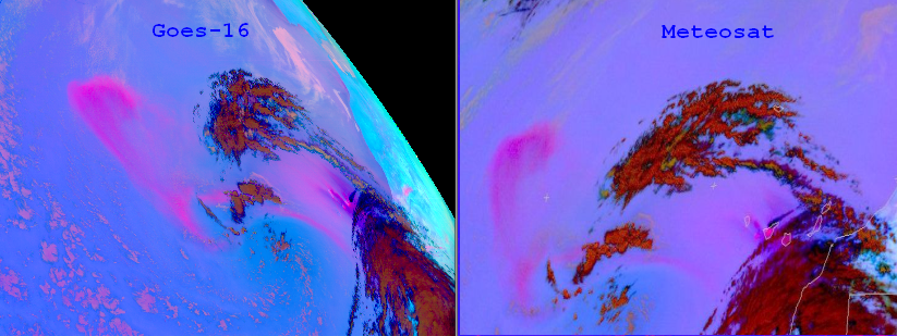 Comparison of Meteosat-11 Dust RGB (right) with GOES-16 Dust RGB (left), 23 Feb 14:45 UTC.