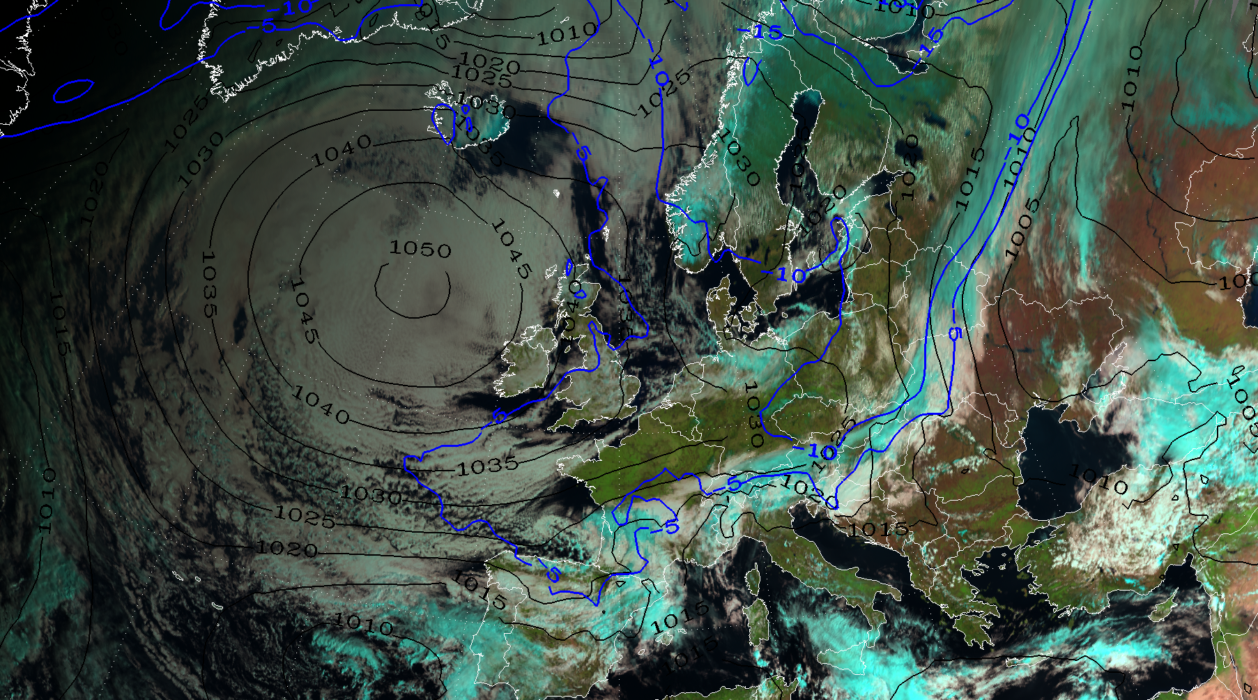 Natural Colour RGB with ECMWF Mean Sea Level Pressure and 850 hPa Temperature overlaid