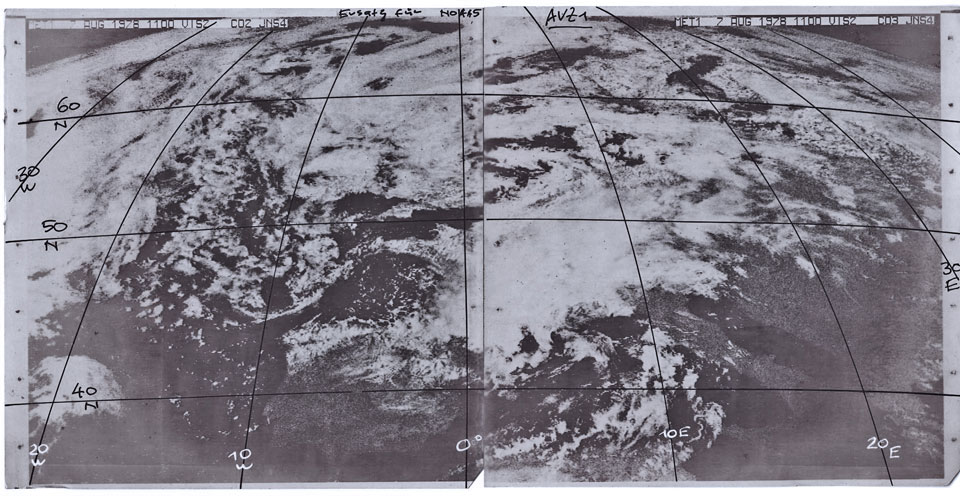 Meteosat-1 Visible image, 7 Aug 11:00 UTC. Credit: DWD Museum