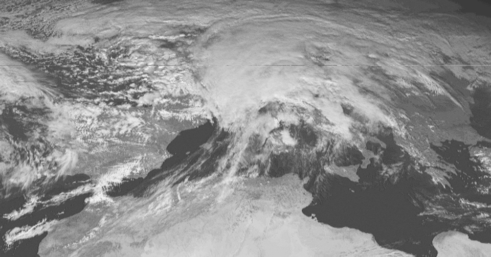 Meteosat-1 Visible, 29 Dec 12:00 UTC
