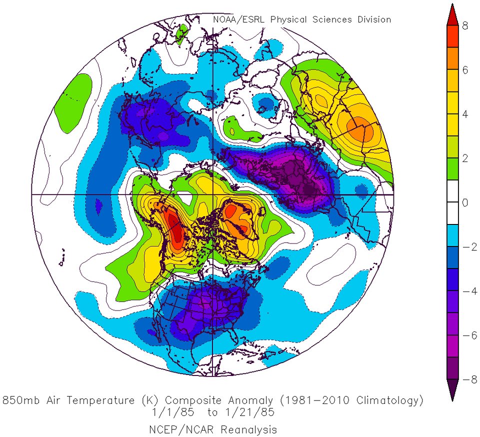850 hPa temperature anomalies from NCEP reanalysis for the first three weeks in January 1985 (Credit: NOAA/NCAR)