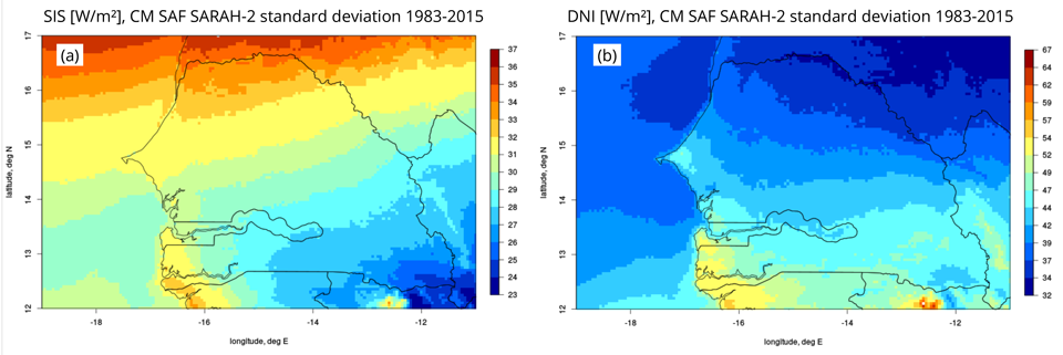 CM SAF SARAH-2 SIS (a) and DNI (b) standard deviation 1983-2015 for Senegal.