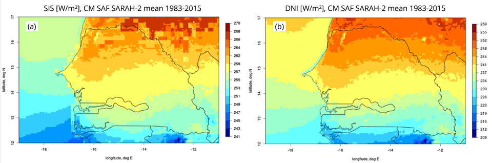 CM SAF SARAH-2 SIS (a) and DNI (b) multi annual mean 1983-2015 for Senegal. DNI: direct solar irradiance on a surface perpendicular to the incident radiation. Clouds and aerosols have a much higher impact on DNI than on SIS.