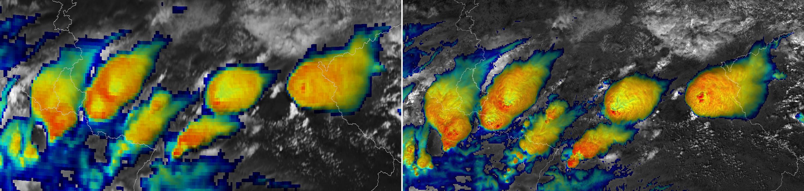 MTG example SEVIRI v VIIRS Convective Clouds
