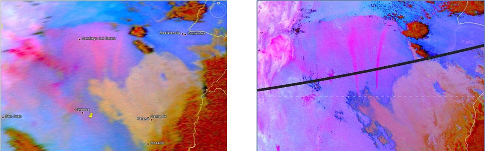 MTG example SEVIRI v MODIS Dust