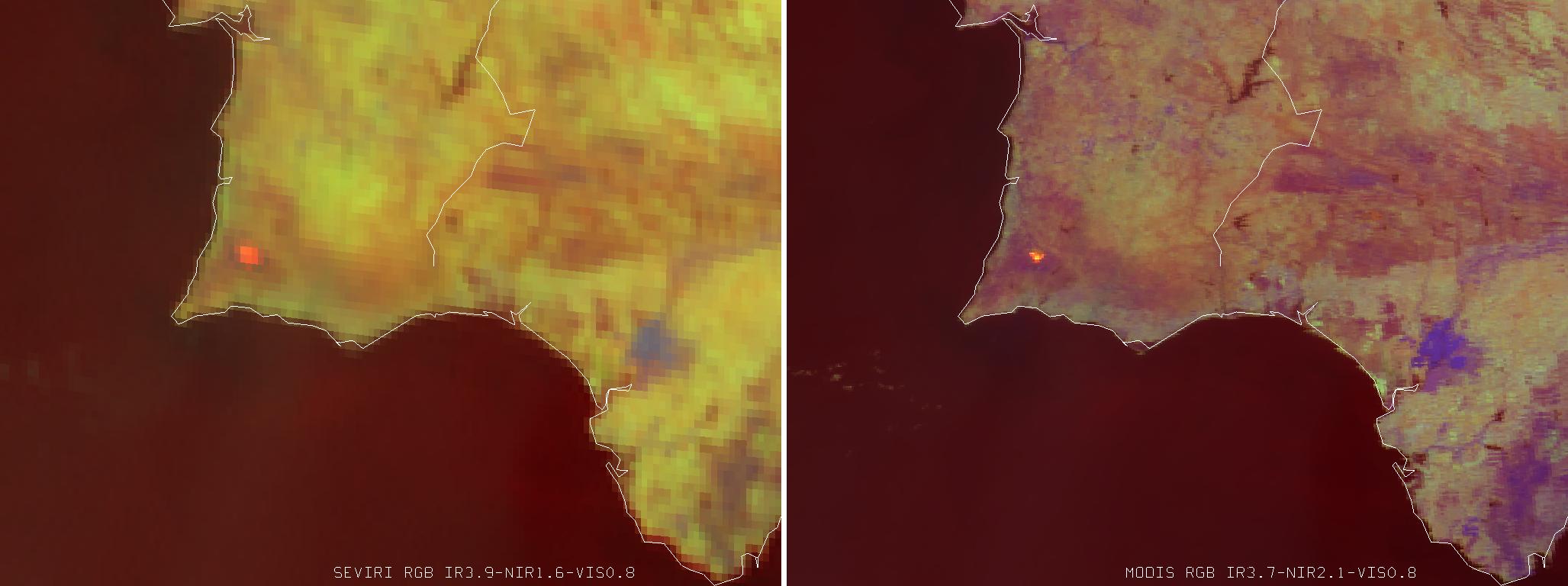 MTG example SEVIRI v MODIS Fire (Portugal)
