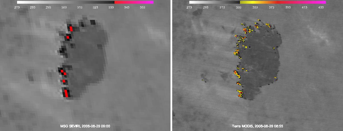 MTG example SEVIRI v MODIS Fire