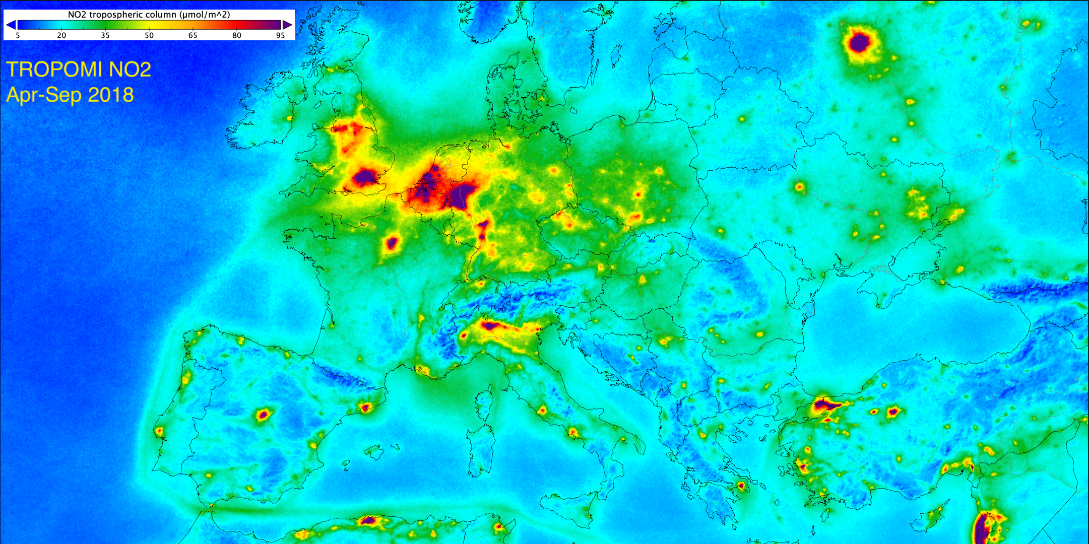 Seasonal average NO2 tropospheric column map at horizontal resolution of 2 km