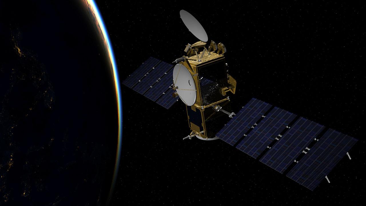 Artist's impression of the Jason-3 satellite in polarorbit above the Earth