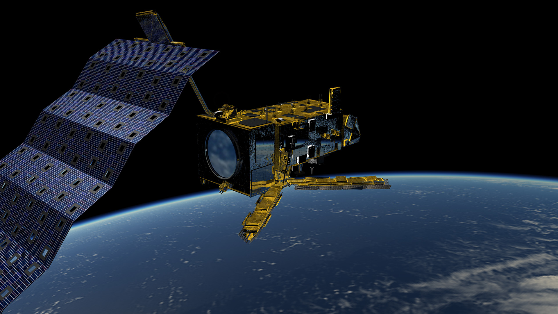 Artist's impression of Metop-C in orbit above the Earth
