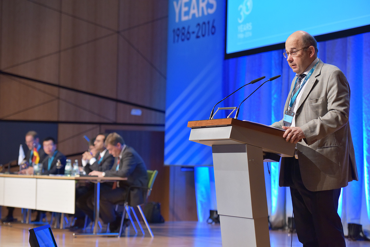 EUMETSAT Director-General, Alain Ratier, gives the official opening address at the 2016 EMSC conference in Darmstadt, Germany