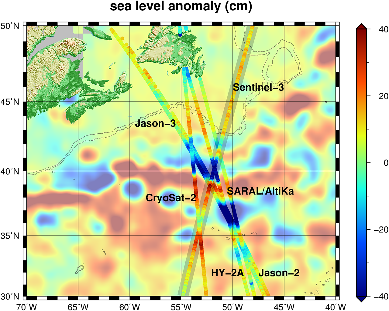 Multi-satellite sea level anomaly measurements are now possible