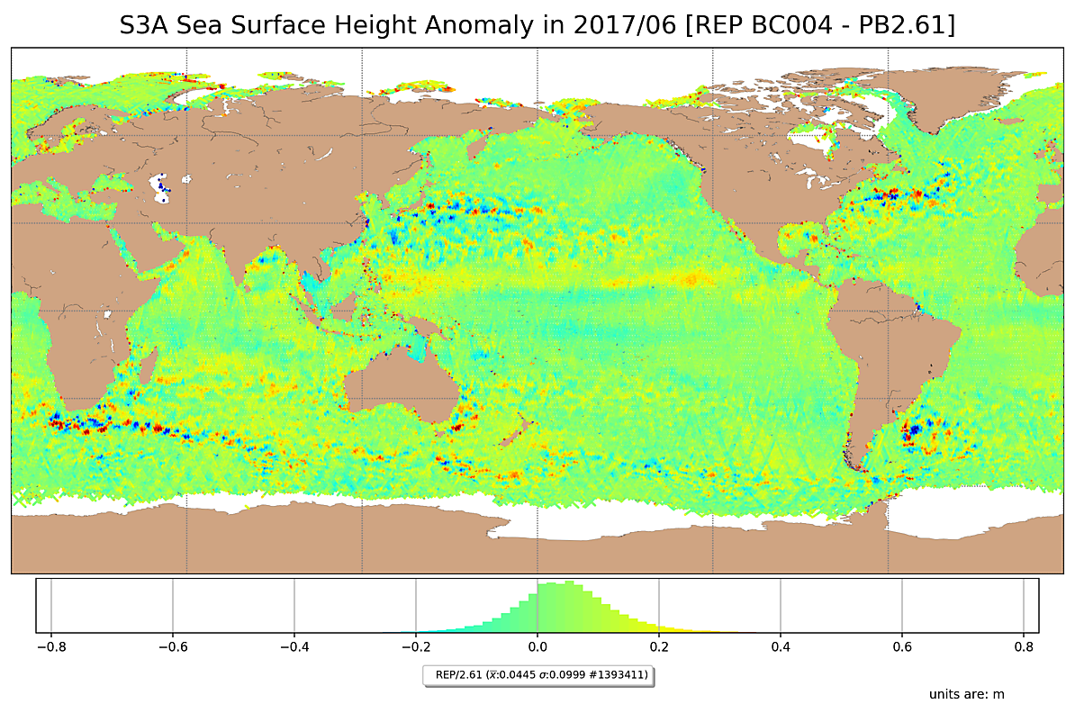 S3A Sea Surface Height Anomaly for June/2017, reprocessed with the new Baseline Collection. Data is filtered by SSHA < |0.75|m