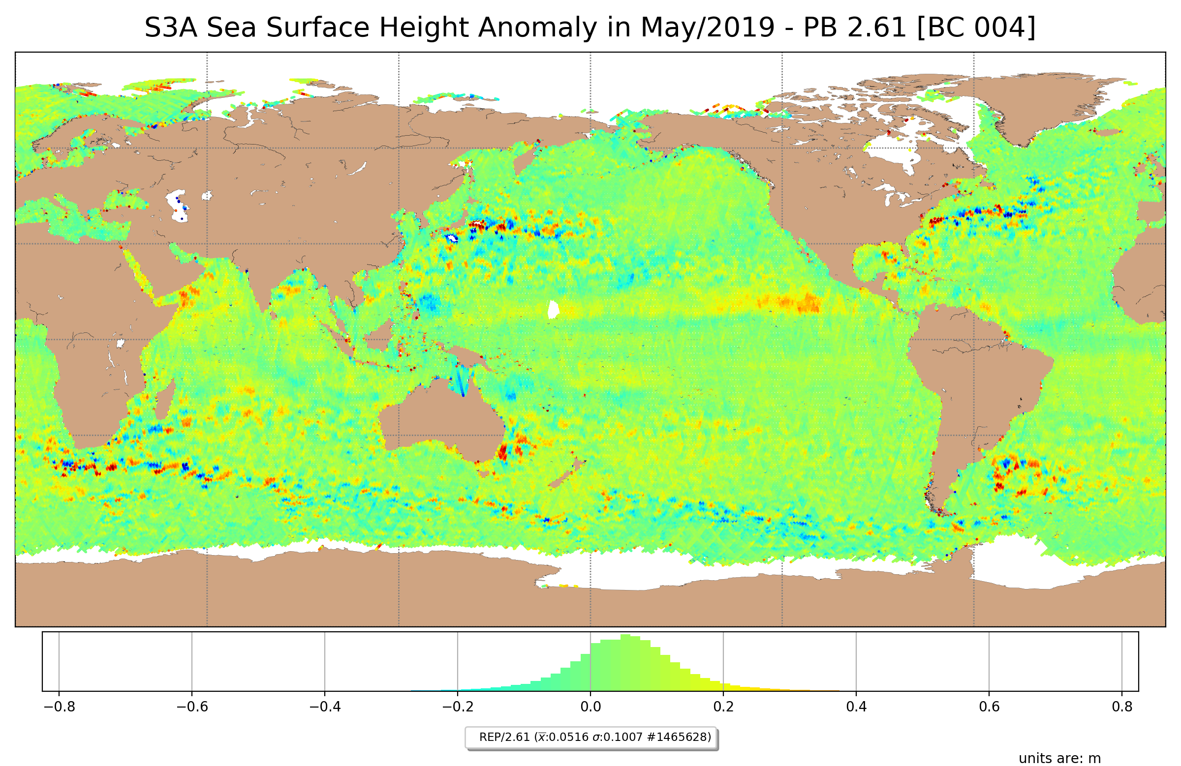 S3A Sea Surface Height Anomaly for May/2019, generated with the new Baseline collection. Data is filtered by SSHA < |0.75|m