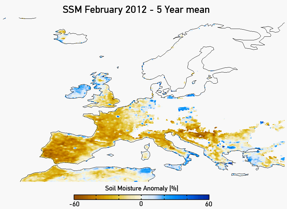 Soil moisture anomaly for February 2012 (five year mean). Credit: IPF