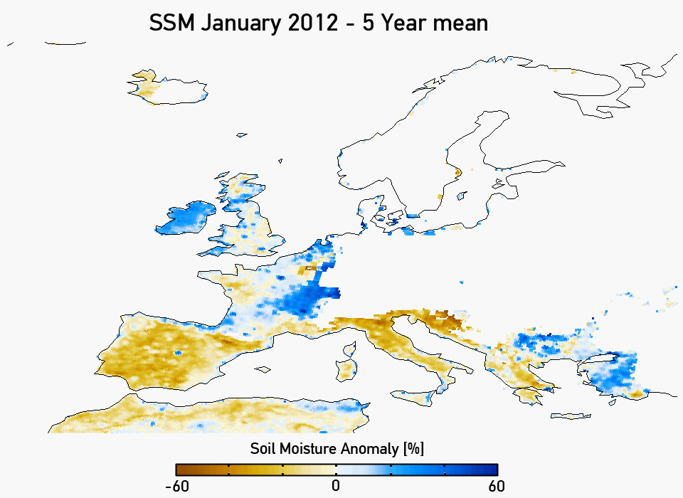 Soil moisture anomaly for January 2012 (five year mean). Credit: IPF