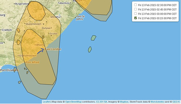 Storm event detected by the StormTrack model over South Africa