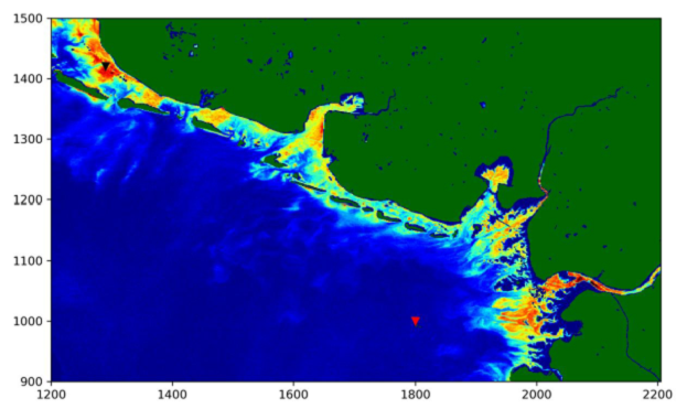 Figure 1: Water-leaving fluorescence, fit parameter, German Bight, OLCI, May 2017