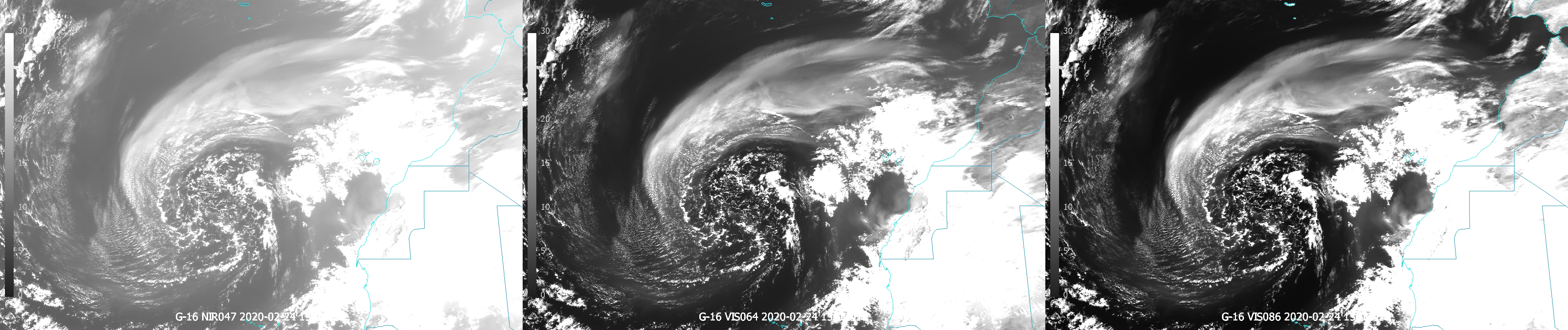 GOES-16 VIS0.47, VIS0.64 and VIS0.86 channels