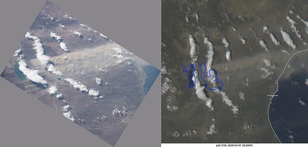 ISS photo 7 March 18:56 UTC (left), GOES-E True Color RGB (right)