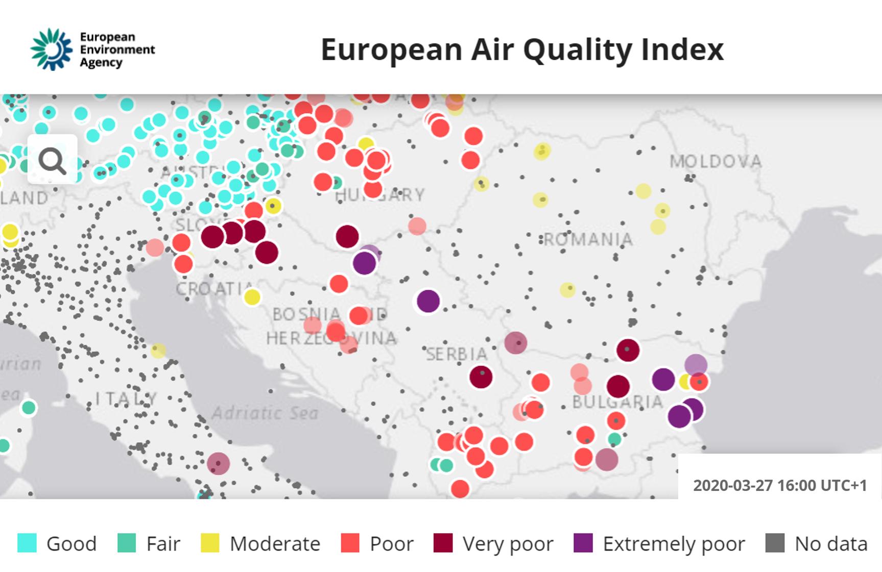 European Air Quality Index, 27 March at 16:00 UTC